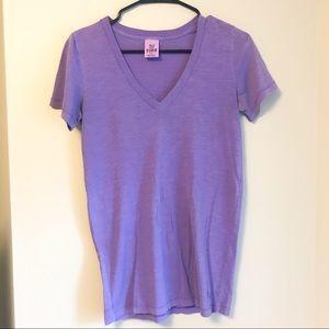 VS PINK V Neck Tee Shirt Purple